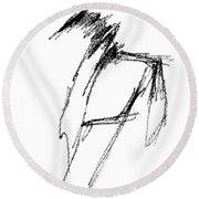 Just A Horse Sketch Round Beach Towel