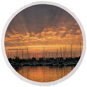 Just A Sliver Of The Sun - Sunrise God Rays At The Marina Round Beach Towel