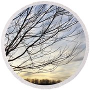 Just A Tree And Clouds Round Beach Towel