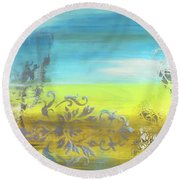 Just Another Damask In Paradise Round Beach Towel