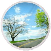 Just Around The Corner Round Beach Towel