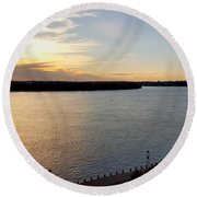Just Around The River Bend Round Beach Towel