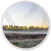 Just Before Dawn At Valley Forge Round Beach Towel