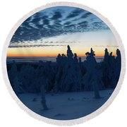 Just Before Sunrise On The Brocken In The Harz Mountains Round Beach Towel