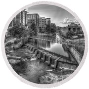 Just Before Sunset B W Reedy River Falls Park Greenville South Carolina Art Round Beach Towel
