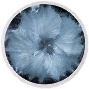 Blue Hibiscus Floral Portrait Round Beach Towel