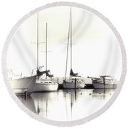 Just Boats Round Beach Towel
