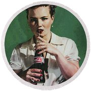 Just Like Old Times - Coca-cola Round Beach Towel