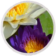 Just Opening Purple Waterlily With White - Vertical Round Beach Towel