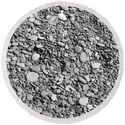 Just Rocks - Black And White Round Beach Towel