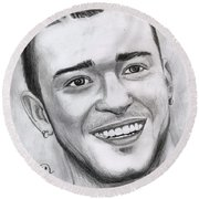 Justing Timberlake Portrait Round Beach Towel