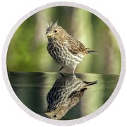 Juvenile House Sparrow 0689 Round Beach Towel