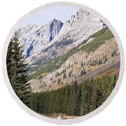 K-country And Bighorn Sheep Round Beach Towel