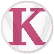 K In Pink Typewriter Style Round Beach Towel