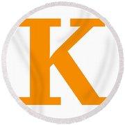 K In Tangerine Typewriter Style Round Beach Towel