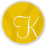 K In White Simple Script Round Beach Towel