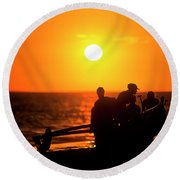 Kaanapali Beach Outrigger Sunset Round Beach Towel
