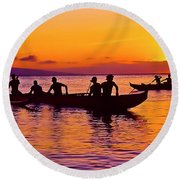Maui Hawaii Kaanapali Outrigger Sunset Round Beach Towel