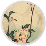 Kaido Ni Shokin II - Small Bird On A Blossoming Branch II Round Beach Towel