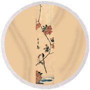 Kaido Ni Shokin IIi - Small Bird On A Branch Of Kaidozakura IIi Round Beach Towel