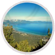 Lake Tahoe From The Top Of Heavenly Gondola Round Beach Towel