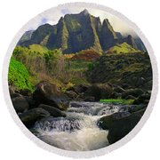Kalalau Cathedral Round Beach Towel