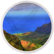 Kalalau Valley Round Beach Towel