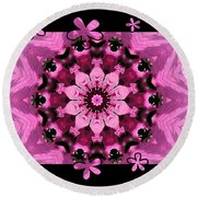 Kaleidoscope 1 With Black Flower Framing Round Beach Towel