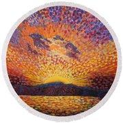 Kaleidoscope Sunrise Round Beach Towel
