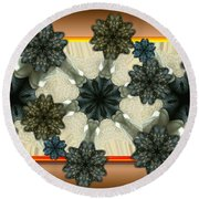 Kaleidoscopeflowers Round Beach Towel