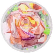 Kaleidoscopic Rose Round Beach Towel