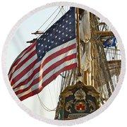 Kalmar Nyckel American Flag Round Beach Towel