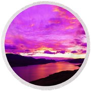 Kamloops Lake At Dawn Round Beach Towel