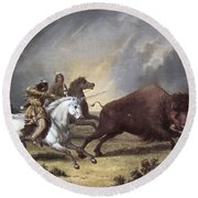 Kane: Buffalo Hunt Round Beach Towel