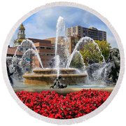 Kansas City Fountain Ablaze In Crimson Round Beach Towel