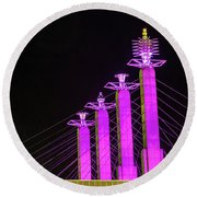 Kansas City Pylons In Pink Round Beach Towel