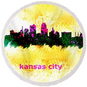 Kansas City Skyline 1 Round Beach Towel