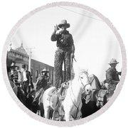 Kansas: Cowboy, C1908 Round Beach Towel