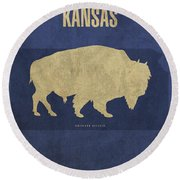 Kansas State Facts Minimalist Movie Poster Art Round Beach Towel