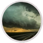 Kansas Storm Chase Bust Day 004 Round Beach Towel