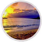 Kapalua Bay Sunset Round Beach Towel