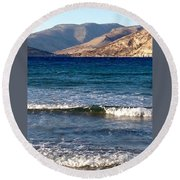 Kardamila Chios Greece Round Beach Towel