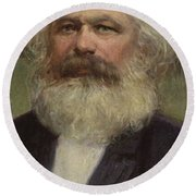 Karl Marx  Round Beach Towel