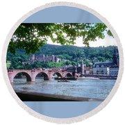 Karl Theodor Bridge And Heidelberg Castle  Round Beach Towel
