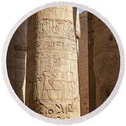 Karnak Pillar Carvings Round Beach Towel