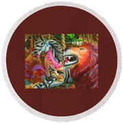 Kate The Zebra And  Lion Carousel  Round Beach Towel