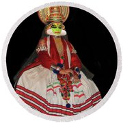 Kathakali Dancer Round Beach Towel