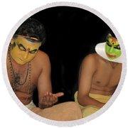 Kathakali Dancers Getting Ready Round Beach Towel