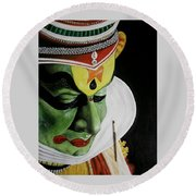 kATHAKALI PAINTING REALISTIC Round Beach Towel
