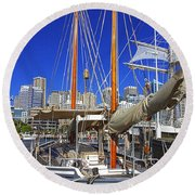 Kathleen Gillett The Artist Cruising Ketch Round Beach Towel